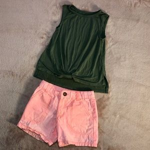 Girls Bundle Outfit Size 5  Pink Shorts Green Tank